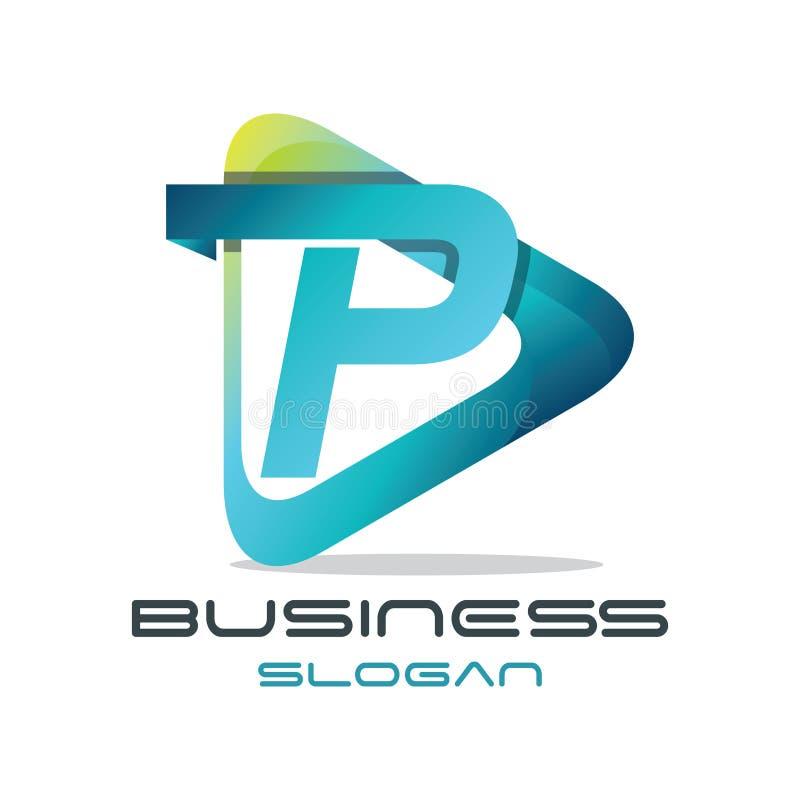 Letter P Media Logo. 3D modern and sophisticated letter P media logo template royalty free illustration