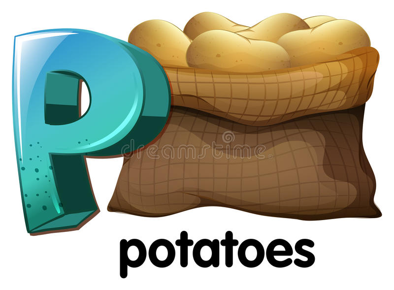 A letter P for potatoes. On a white background royalty free illustration