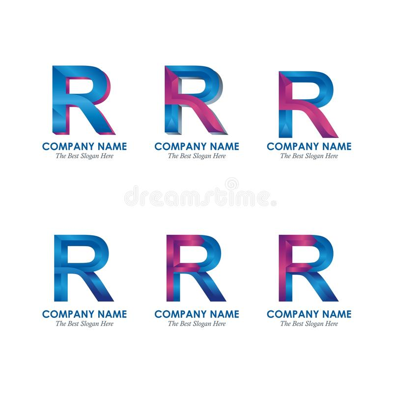 Letter P and R Logotype Design stock illustration