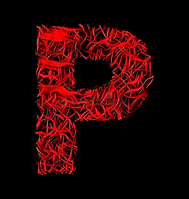 Download Letter P Red Artistic Fiber Mesh Style Isolated On Black Stock Illustration
