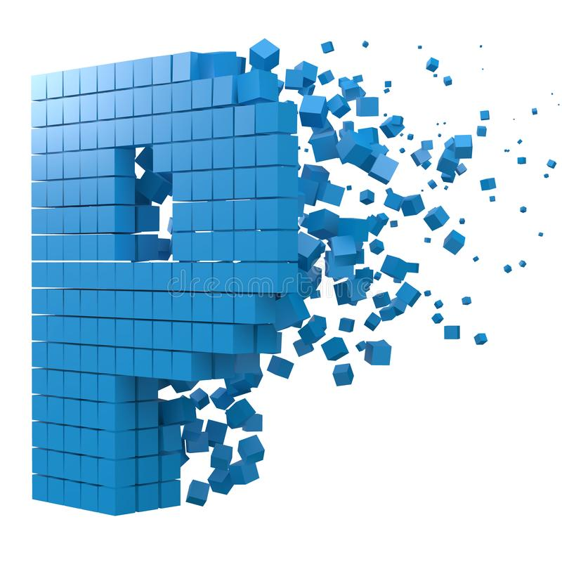 Letter P shaped data block. version with blue cubes. 3d pixel style vector illustration. Suitable for blockchain, technology, computer and abstract themes vector illustration
