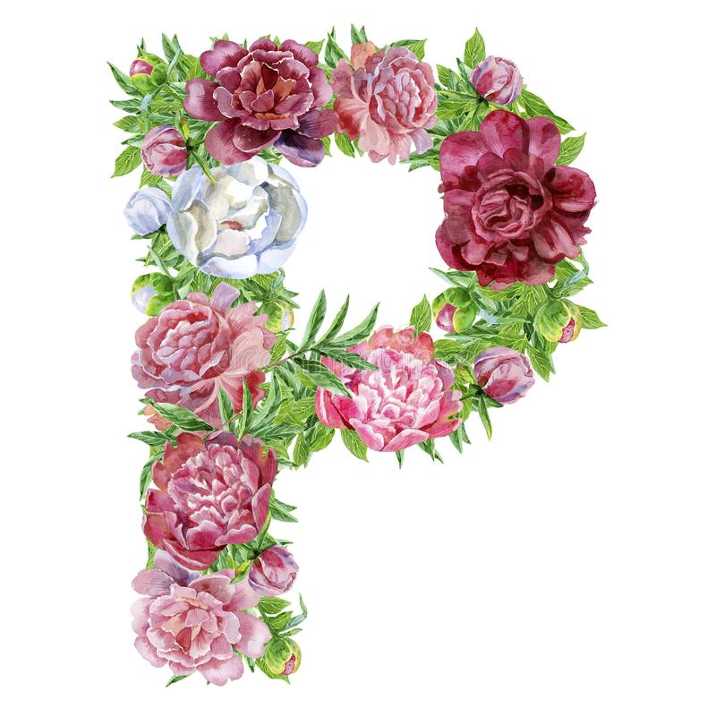 Letter P of watercolor flowers royalty free stock photo