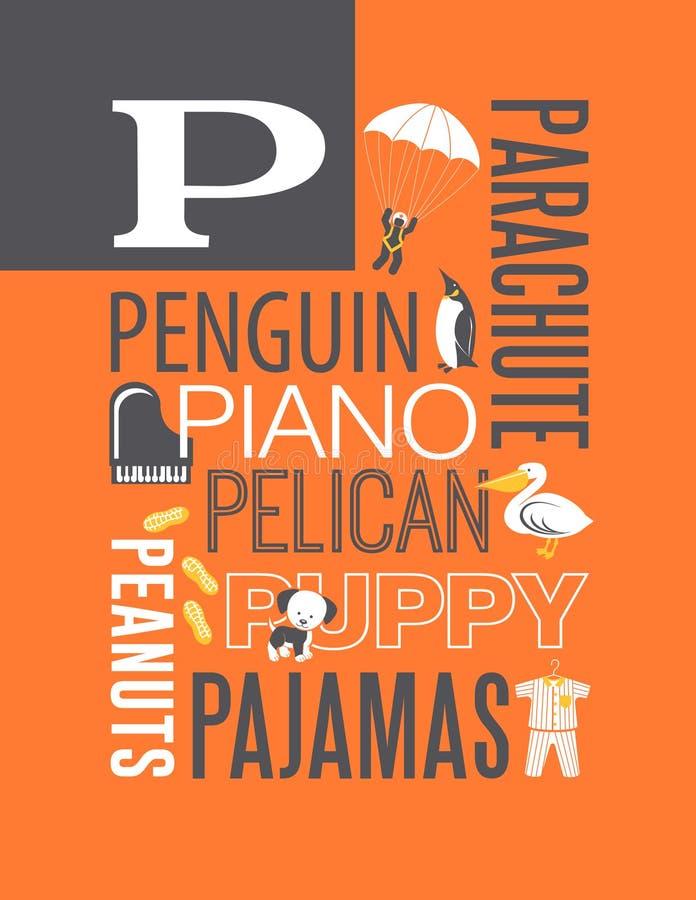 Letter P words typography illustration alphabet poster design stock illustration