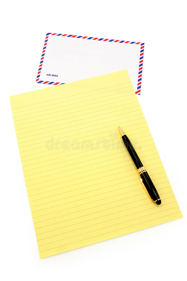 Letter paper and airmail envelope royalty free stock image