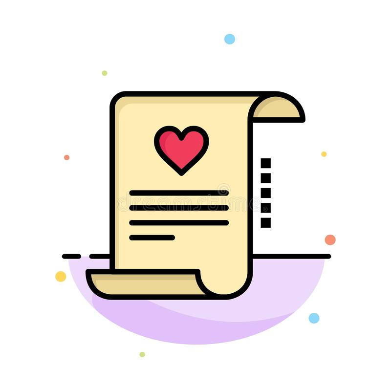 Letter, Paper, Document, Love Letter, Marriage Card Abstract Flat Color Icon Template royalty free illustration