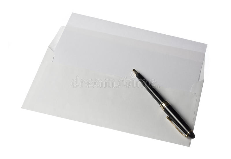 Letter Paper Open Envelope and Pen royalty free stock images