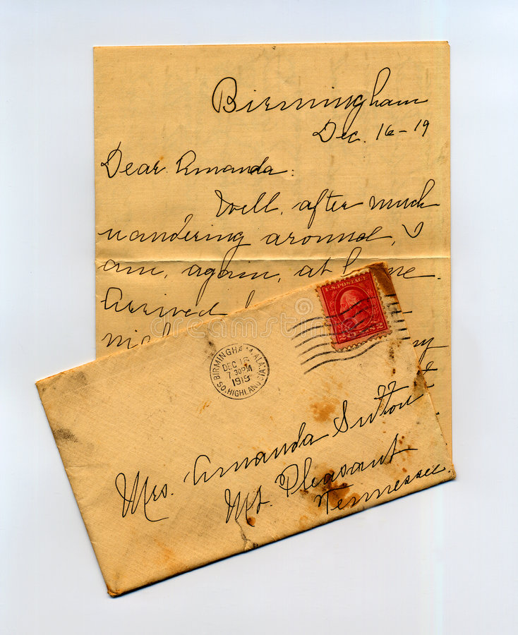 Letter from the Past. Letter, with envelope, dated 1919, to my grandmother stock photography