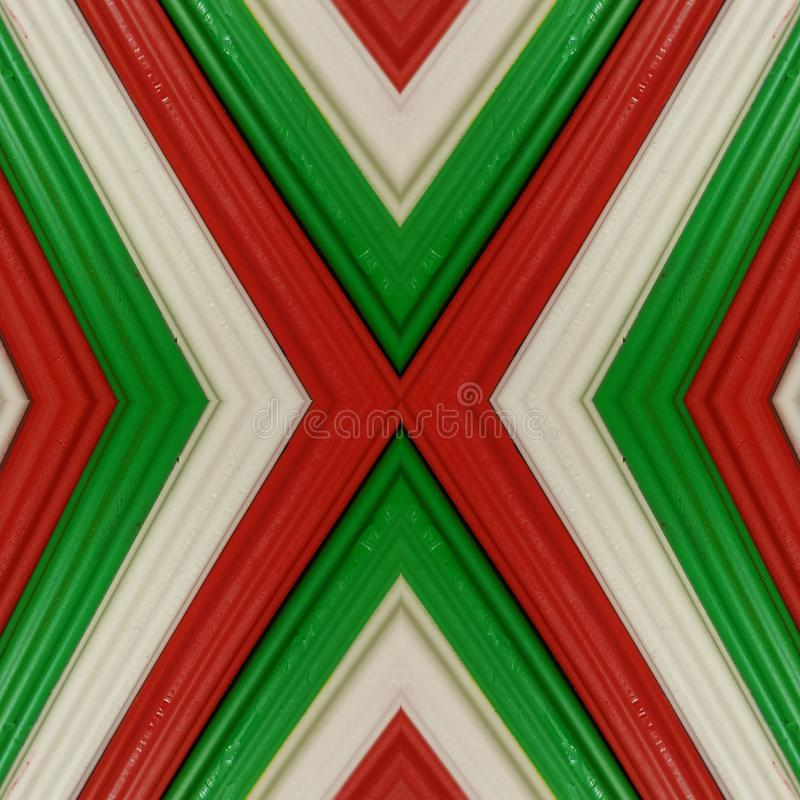 Letter x with pieces of plasticine bars in colors green, white and red, background and texture. Backdrop for color-related announcements, school material for stock photography