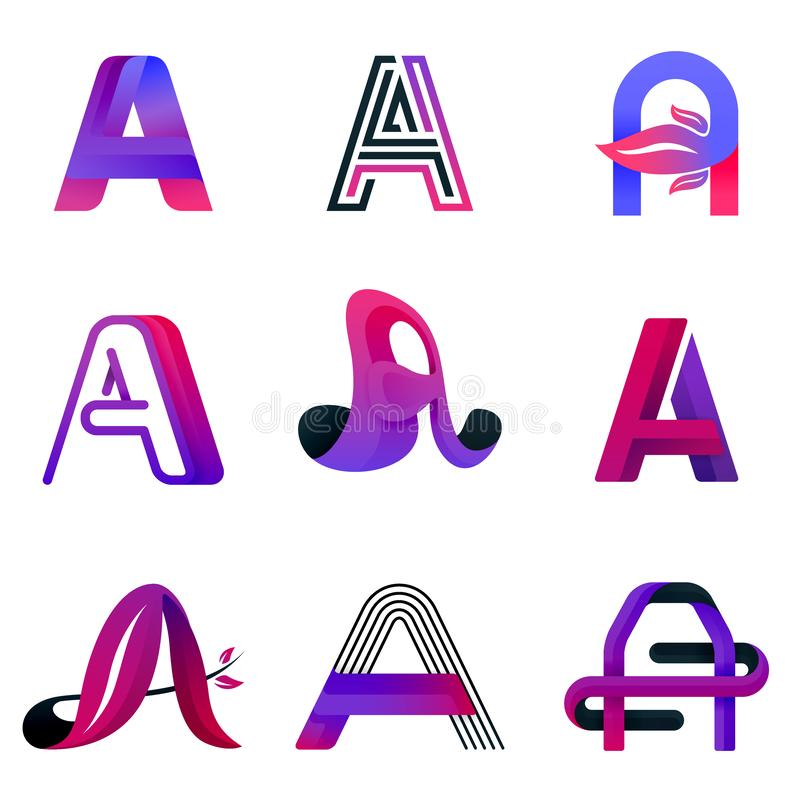 Letter A purple logo template. modern elegant and decorative logo for for company, industry business and technology. logo vector royalty free illustration