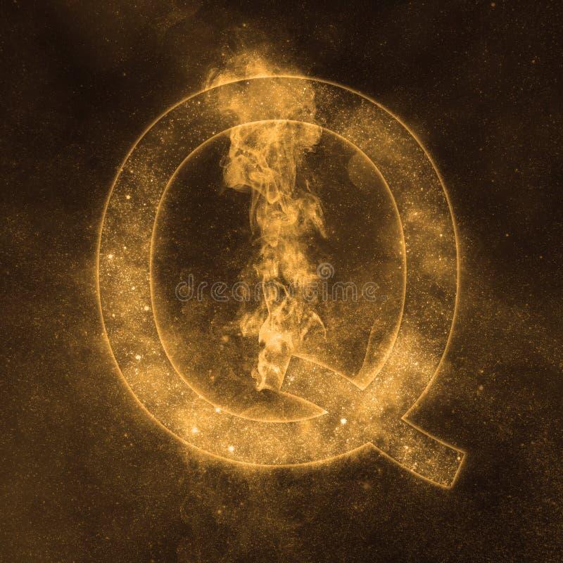 Letter Q alphabet symbol. Space Letter, Night Sky Letter. Space letters royalty free illustration