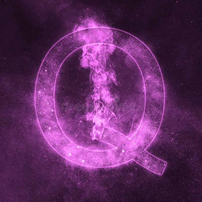 Letter Q alphabet symbol. Space Letter, Night Sky Letter. Space letters stock illustration