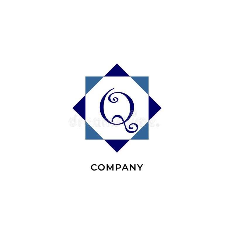 Letter Q Alphabetic Logo Design Template, Development company Logo Concept иллюстрация вектора