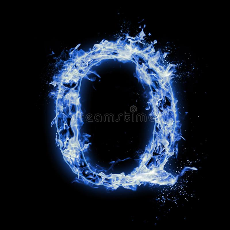 Letter Q Blue fire flames on black royalty free stock image