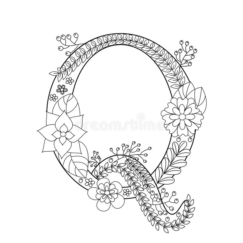 Letter Q Coloring Book For Adults Vector Stock Vector
