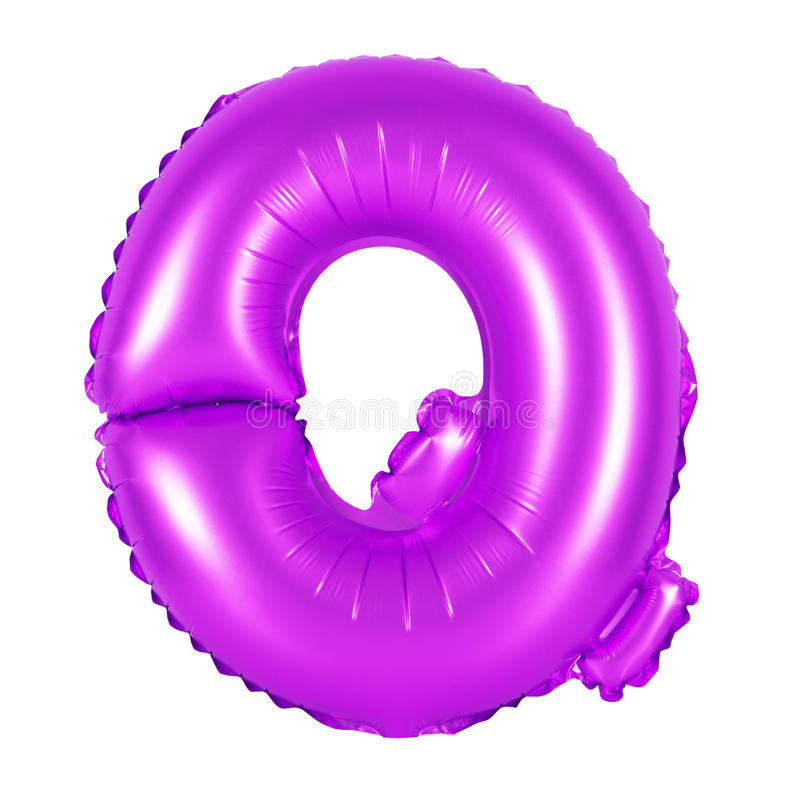 Letter Q from English alphabet purple stock image