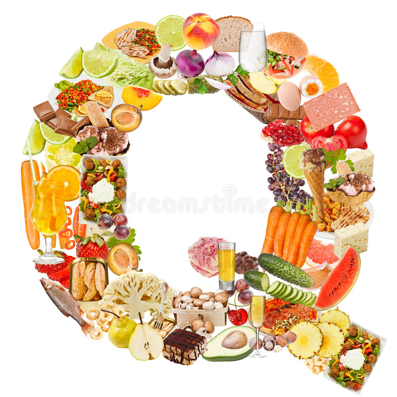 Download Letter Q made of food stock photo. Image of collage, arial - 26400400