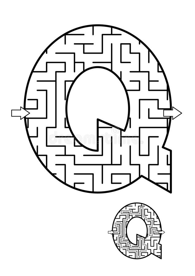 Free Letter Q Maze Game For Kids Royalty Free Stock Photos - 107801878
