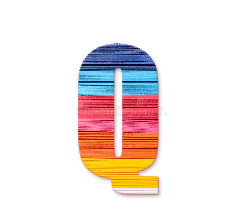 Letter Q. Rainbow color paper. stock image