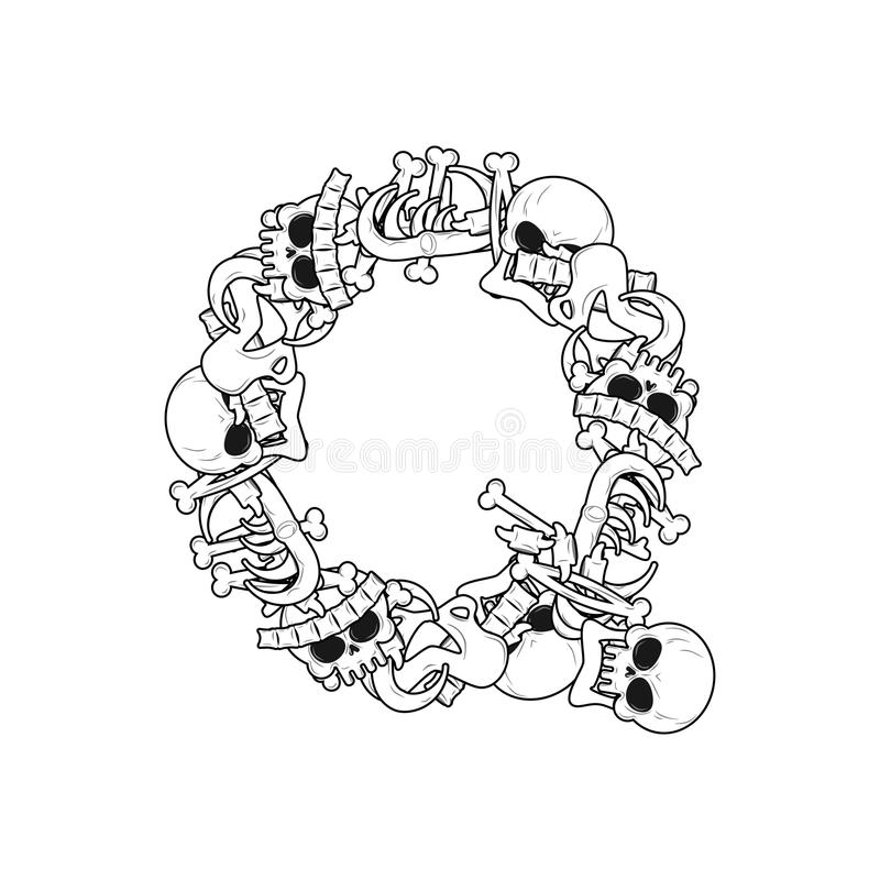 Letter Q Skeleton Bones Font. Anatomy Of An Alphabet Symbol. Dea ...