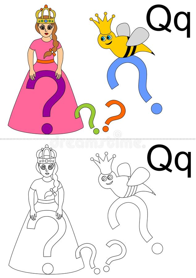 Letter q worksheet royalty free stock photos