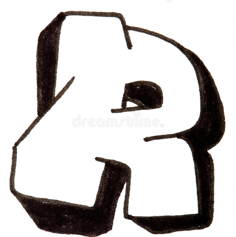 letter r  alphabet in graffiti style stock image