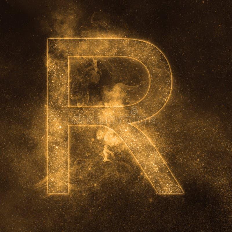 Letter R alphabet symbol. Space Letter, Night Sky Letter. Space letters royalty free illustration