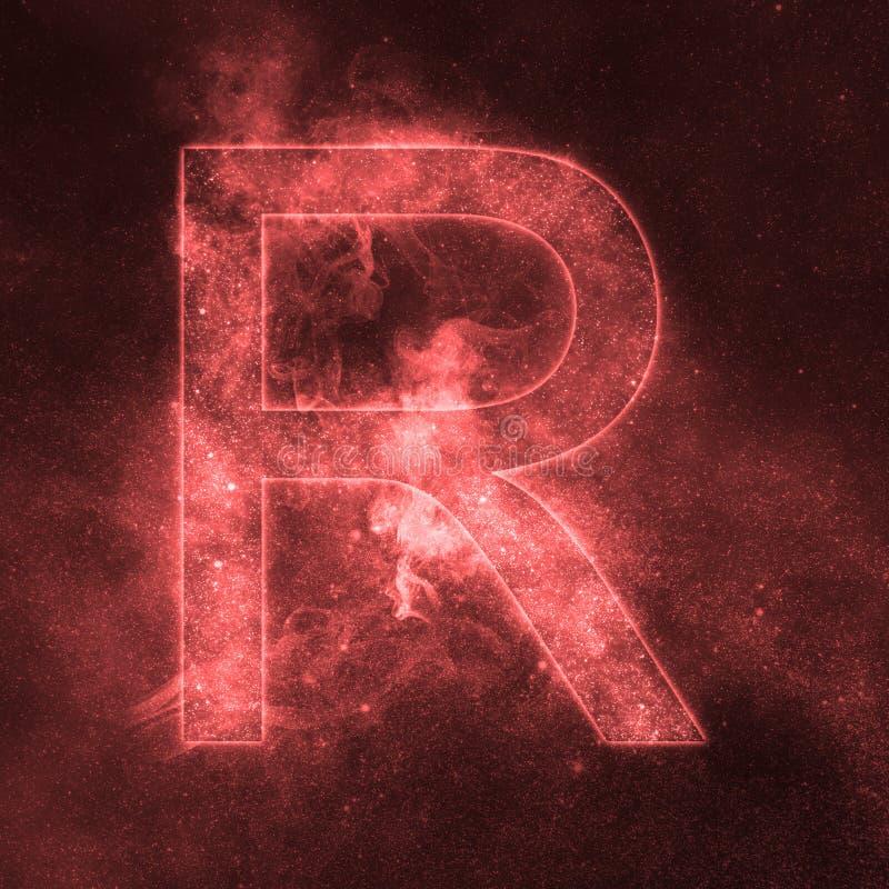 Letter R alphabet symbol. Space Letter, Night Sky Letter. Space letters stock illustration