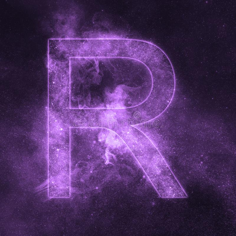 Letter R alphabet symbol. Space Letter, Night Sky Letter. royalty free illustration