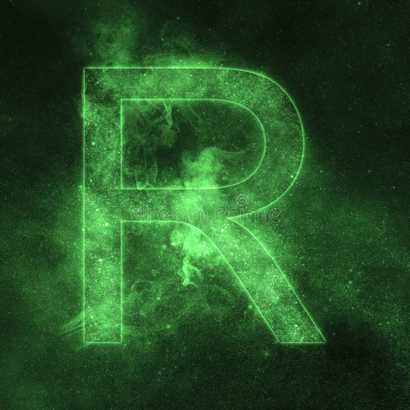 Letter R alphabet symbol. Space Letter, Night Sky Letter. vector illustration