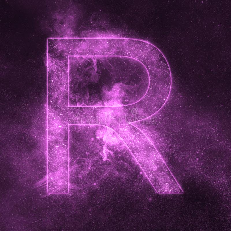 Letter R alphabet symbol. Space Letter, Night Sky Letter. Space letters vector illustration