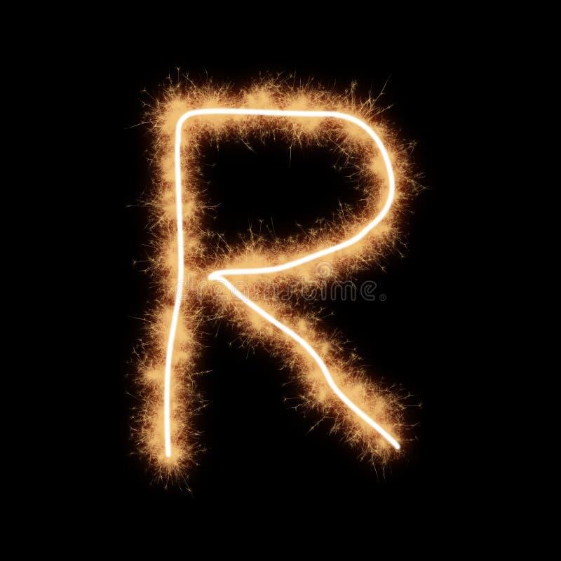 Letter R of alphabet on a black background. Letter R of alphabet written by squib sparks on a black background vector illustration