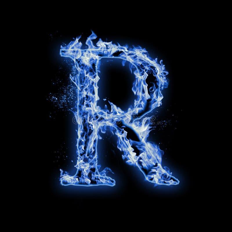 Letter R. Blue fire flames on black vector illustration