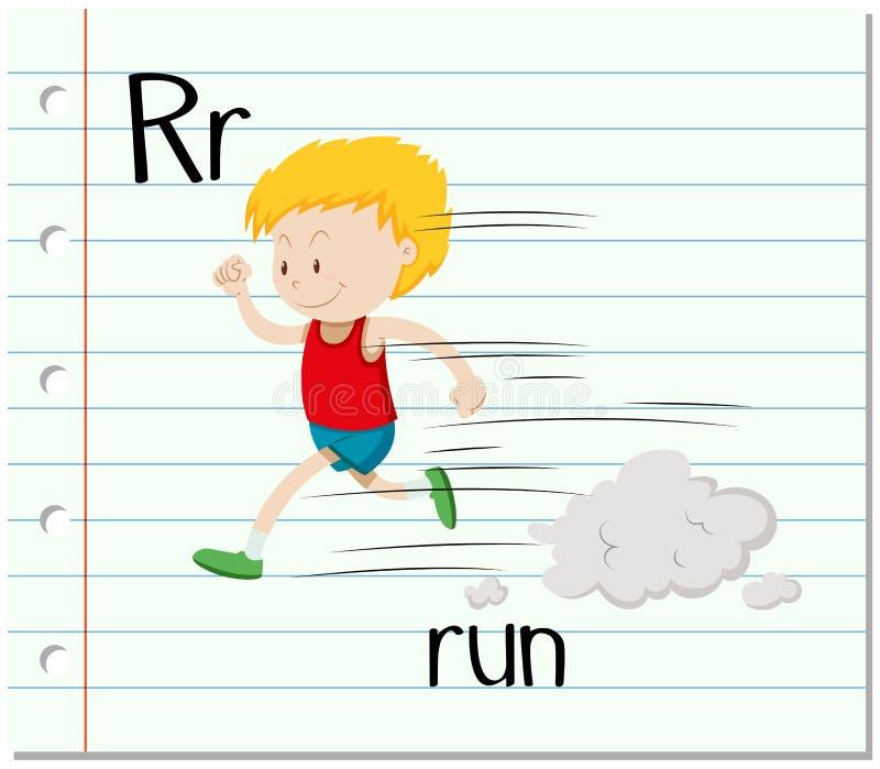 Letter R with boy running vector illustration