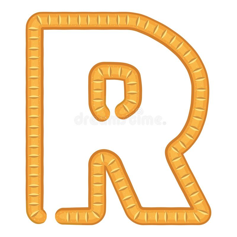 Letter r bread icon, cartoon style stock illustration