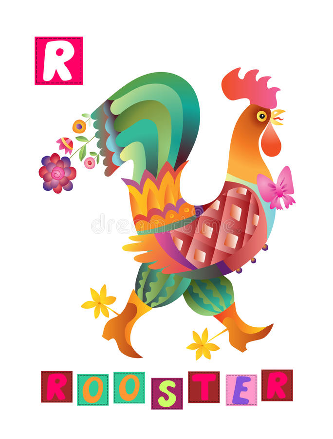 Letter R. Cute cartoon english alphabet with colorful image and word. Cute cartoon english alphabet with colorful image and word. Kids vector ABC on white vector illustration
