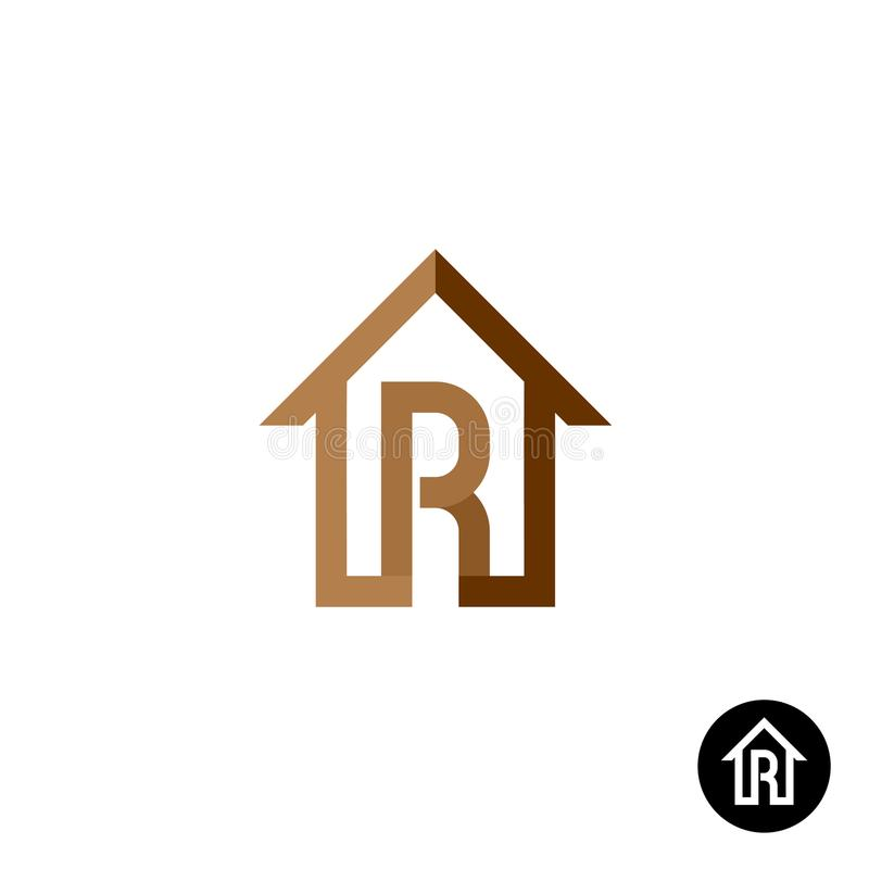 Letter R with house logo vector illustration