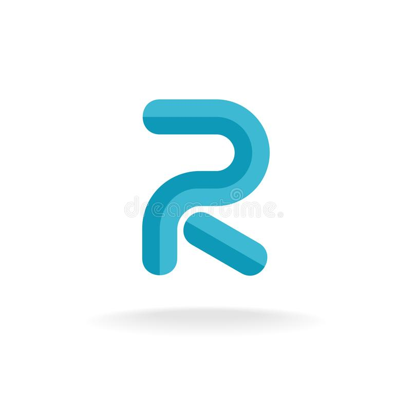 Letter R logo. Flat bevel technical style. royalty free illustration