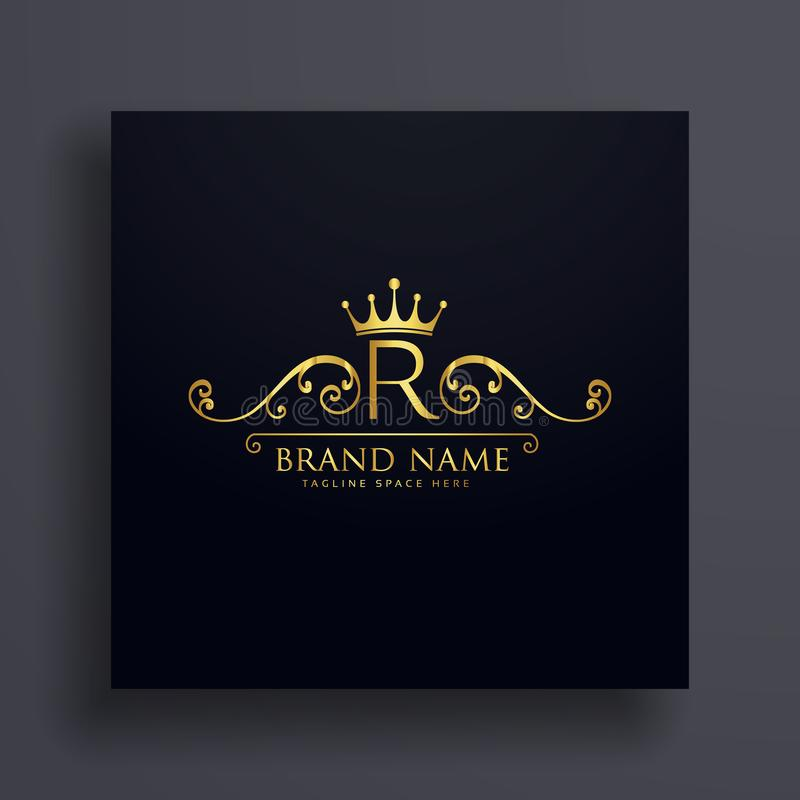 Letter R logo with golden crown and floral decoration royalty free illustration