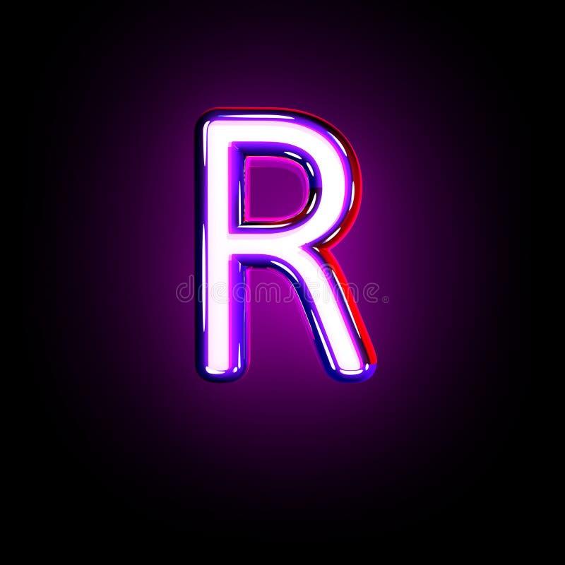 Letter R of neon purple shining font isolated on black - 3D illustration of symbols. Purple shining neon font - letter R isolated on black background, 3D stock illustration