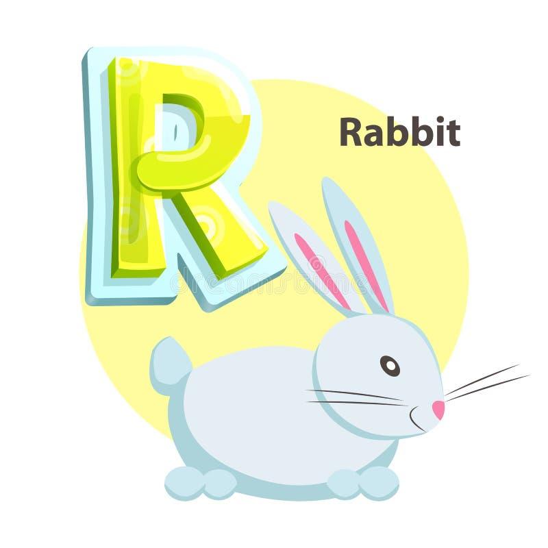 Letter R for Rabbit cartoon alphabet for children vector illustration