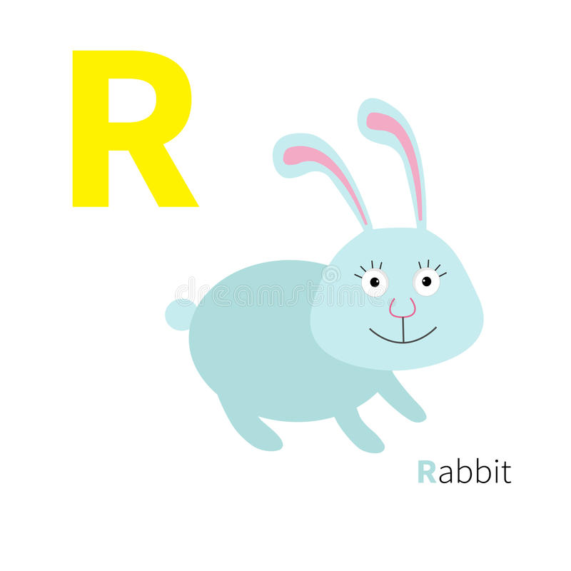 Letter R Rabbit Zoo alphabet. English abc with animals Education cards for kids White background Flat design royalty free illustration