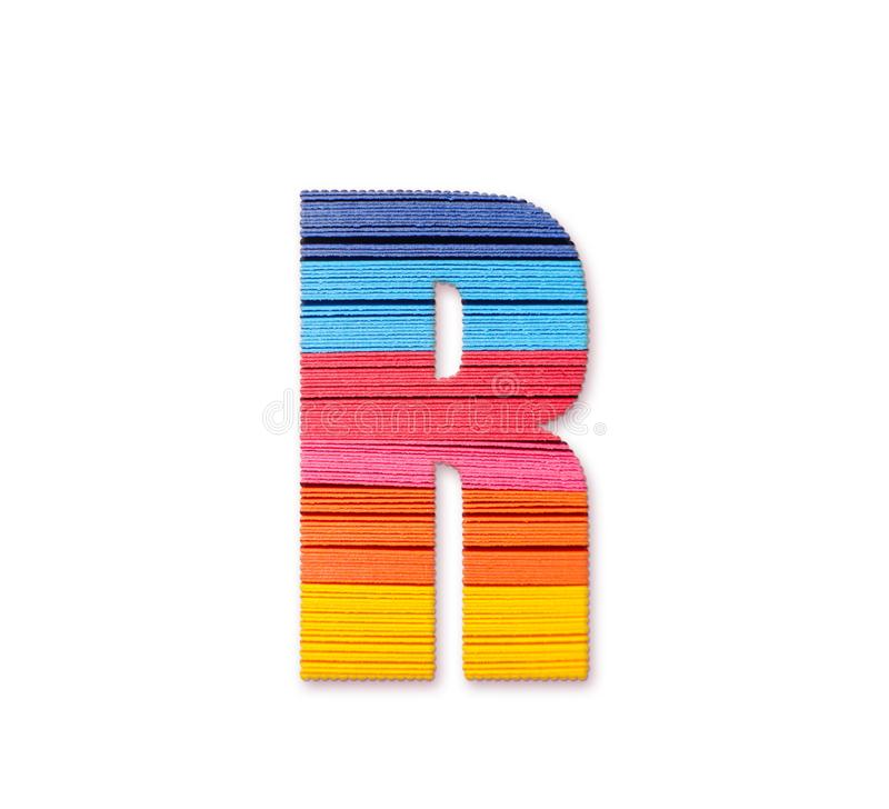 Letter R. Rainbow color paper. royalty free stock photos