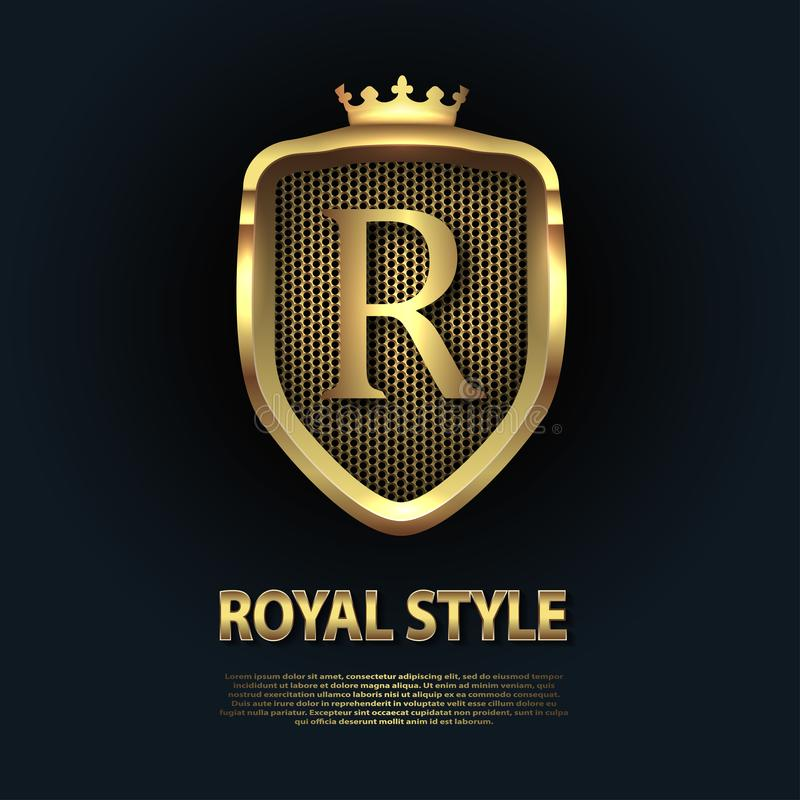 Logo With Golden Crown: Letter R On The Shield With Crown Isolated On Dark