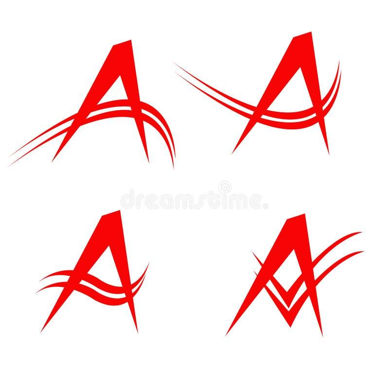 Letter A Red Four Model stock illustration