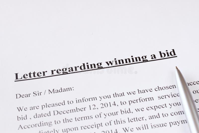 bid acceptance letter