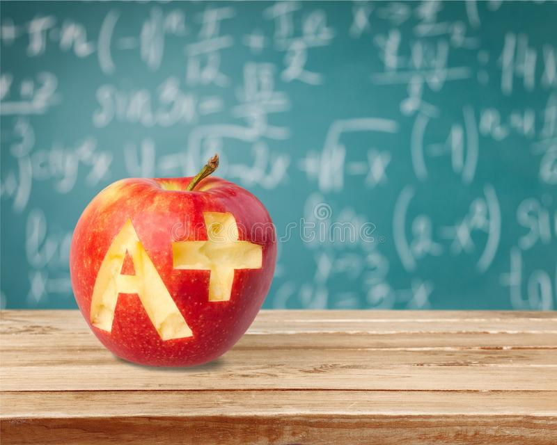 Letter A. Report Card Test Results Apple Education School Plus Sign stock photography