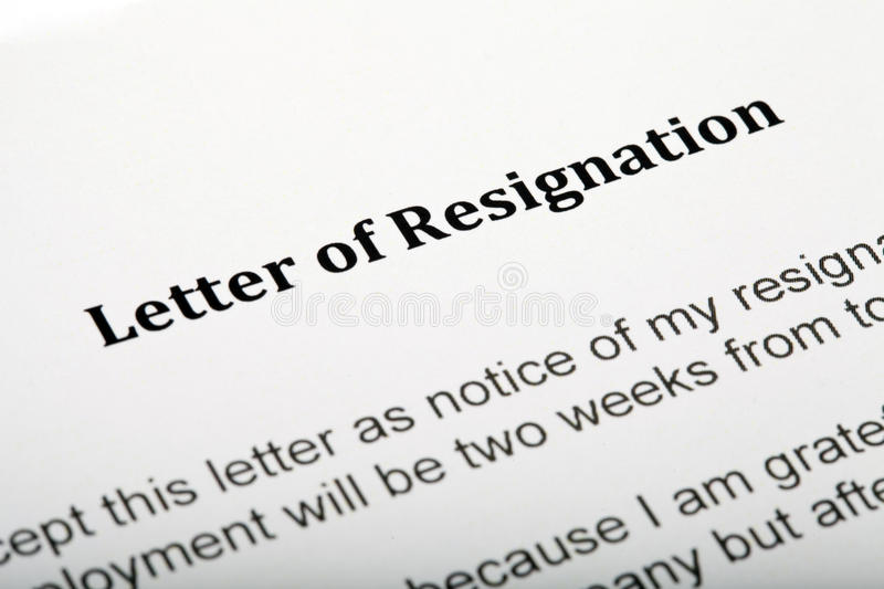 Letter of Resignation stock images