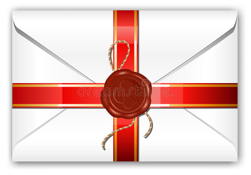 Letter with ribbon and wax seal. royalty free illustration