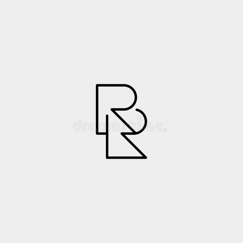 Letter RR R Logo Design Simple Vector. Elegant, initial, luxury, black, brand, gold, typography, fashion, icon, business, logotype, concept, font, beauty royalty free illustration