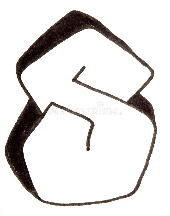 Letter S, Alphabet in graffiti style. Alphabet painted in graffity style with a black fibretip pen stock photo